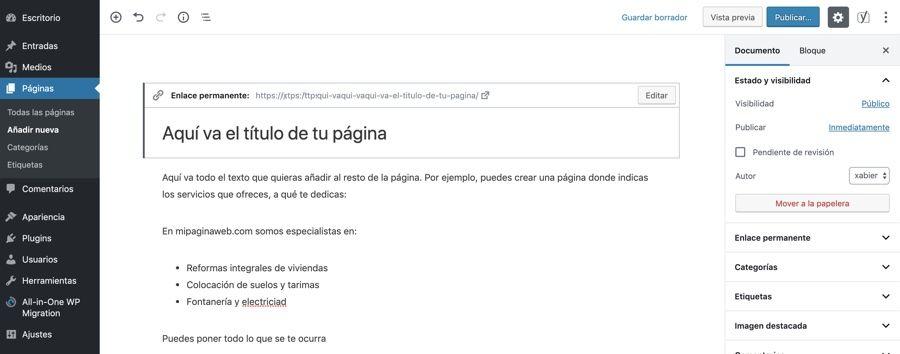Cómo crear una página en Wordpres