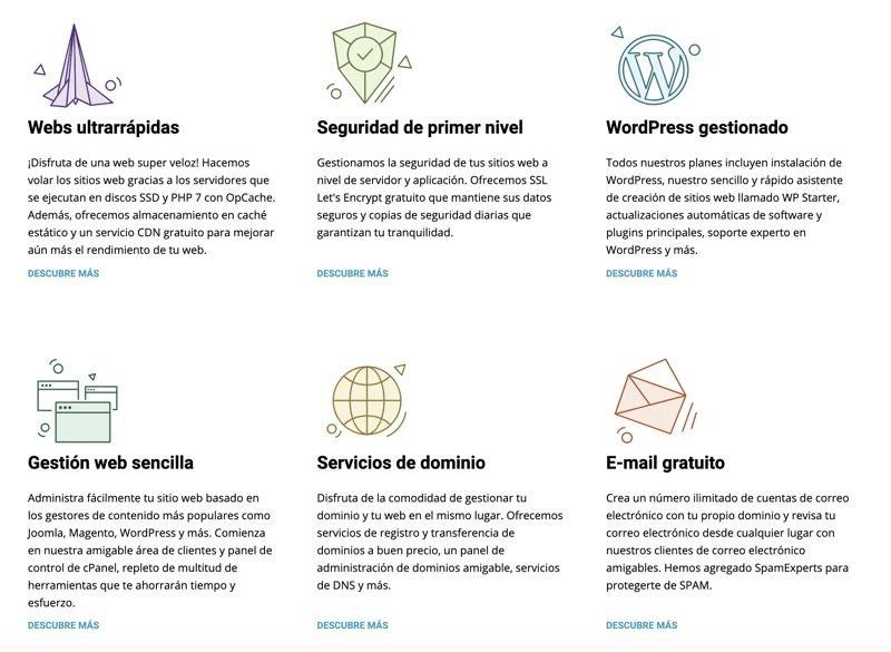 Qué características tiene Siteground