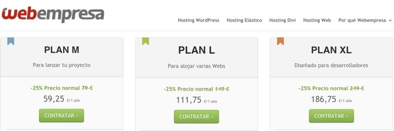 Precios en oferta para Webempresa