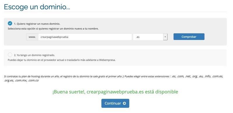 Registrar dominio en Webempresa